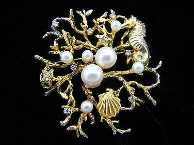 Natalie Baroni Coral Reef Pin - Seahorse, Starfishes, Shell, Pearls & CZ's