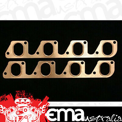 """SCE PRO COPPER EMBOSSED EXHAUST GASKETS SCE-4052 FORD 302-351C 2V 1.350"""" x 1.875"""