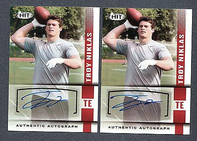 2014 SAGE HIT Autograph #A136 Troy Niklas RC Lot of 2 Notre Dame B87 858