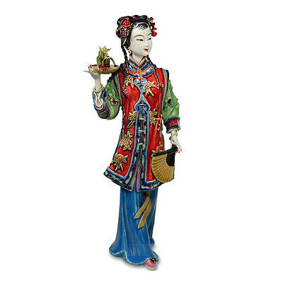 Antique Chinese Lady Ceramic Statue Lanxin Pure Manual Figure Craft Collectib...