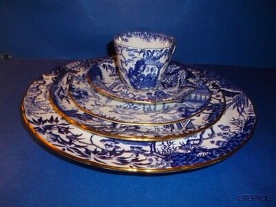 5 Pc Place Setting ROYAL CROWN DERBY BLUE MIKADO England Bone China Blue Stamps
