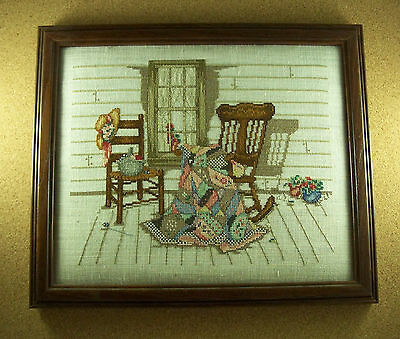 Completed Finished Cross Stitch QUILT ROCKING CHAIR FLOWERS FLORAL Frame Linen