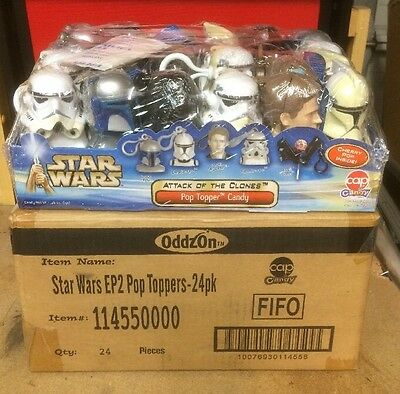 Star Wars AOTC Hasbro CAP Pop Topper Candy Display Factory Sealed In Shipper Box