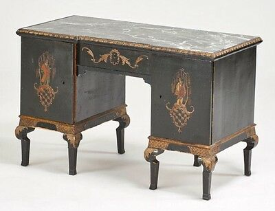 Antique Chinese Chippendale Oriental Chinoiserie Decorated Marble Top Desk