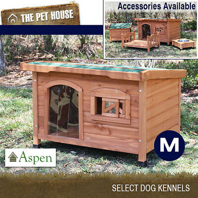 NEW Aspen Medium Flat Roof Wooden Dog House Wood Timber Kennel