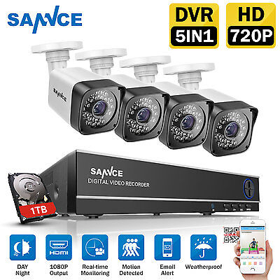 SANNCE 4CH 1080N DVR HDMI Outdoor Night 720P Home CCTV Security Camera kit 1TB