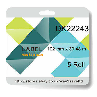 5x Compatibl with Brother DK22243 P Touch Address Shipping Labels 102mm x 30.48m