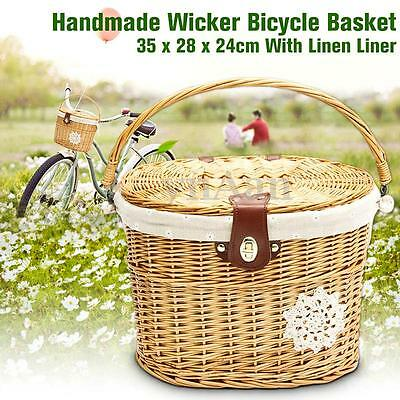 Handcraft Wicker Bike Basket Shopping Picnic Front Carry Box W/ Lid Handle&Line