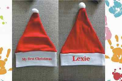 Baby Boys Girls My First Christmas Personalised Santa Hat Any Name Red And White