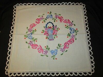 "18"" Square Embroidered & Crochet Lace Edging Table Center Cloth Pillow Slip"