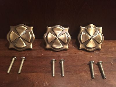 Three Vintage Bronze Draw Pull Knobs Retro Mid Century Brass Tone Celtic Square
