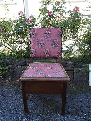 Old Vintage Edwardian Commode/Bedroom Chair with Lift Up Seat & Studded Detail