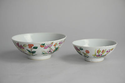 Antique 19th Qing Chinese Porcelain Famille Rose Bowl China Marked base Flowers