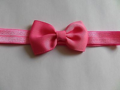 baby headband 0-3 months hot pink band hot pink bow