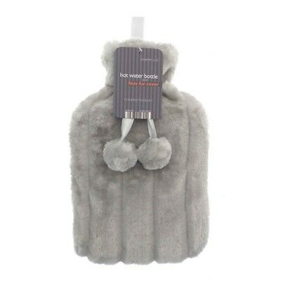 Hot Water Bottle With Super Soft Removable Faux Fur Cover Grey/Silver Colour NEW