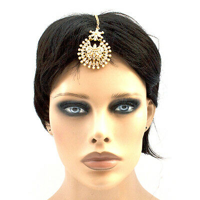Ethnic Gold Plated Indian Bollywood Hair Ornament Round Maag Tika in White Glass
