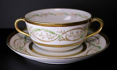 Richard Ginori Porcelain La Scala Cream Soup and Under Plate -Amazing Condition!