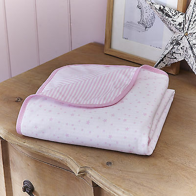 New Clair De Lune Pink Stars & Stripes Pram / Moses Basket / Crib Cotton Blanket