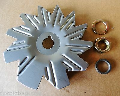 Alternator 3//8 Belt Pulley Fan /& Nut /& Spacer Kit Delco 10DN 10SI Chevy GM