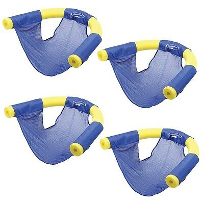 NEW (Set/4) Swimways Summer Fun Floating Pool Noodle Sling Mesh Chairs - Blue