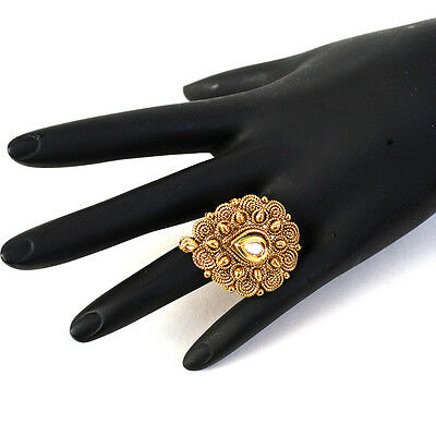 Indian Pakistani Bollywood Ethnic Tear Shape Gold Plated Kundan Adjustable Ring