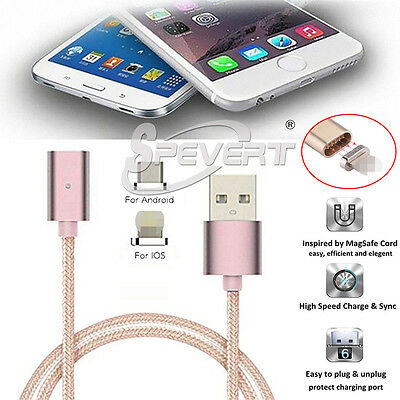 Magnetic Adapter Nylon Lightning USB Charger Data Cable For iPhone 5 6 7 Samsung