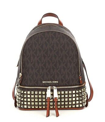 80a469787862 New Michael Kors Rhea Small Logo Backpack Brown $358 bag Gold studded studs