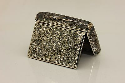 Antique Original Perfect Ottoman Silver Niello Amazing Cigarette Case