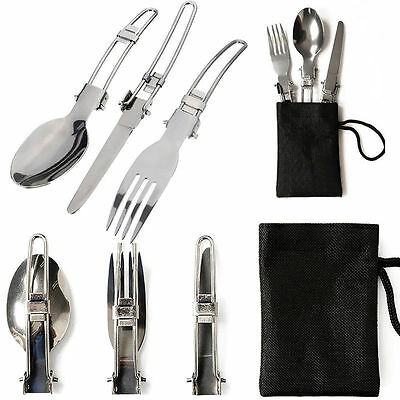3 in1 Outdoor Camping Stainless Steel Folding Knife Fork Spoon Picnic Tableware