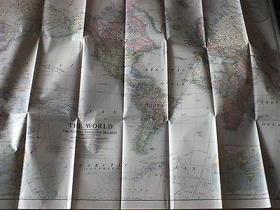 THE WORLD 1922  Large vintage National Geo map ZW62