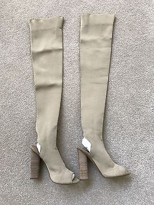2f62453724bd2 Yeezy Season 2 Knit Sock Open Toe Over The Knee High Boots Gold Size 37