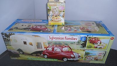 Sylvanian Ex-Display Caravan & Family Saloon Car, Plus Free Nursery Party Set.
