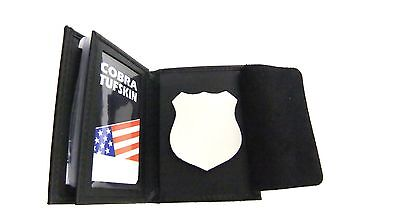NYPD Officer's Badge & ID Wallet Bi-Fold Credit Card ID Black Leather CT-10