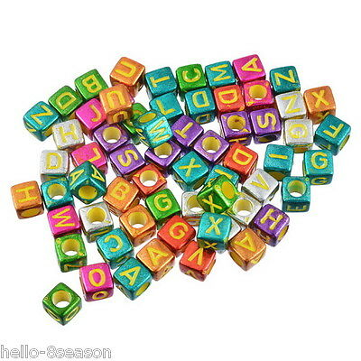 300PCs Mixed Multicolor Acrylic English Words Pattern Cube Beads 6x6mm