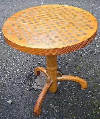 Handmade Vintage Half Penny Ha'Penny Round Wooden Side Table-PUB / BAR/ MAN CAVE