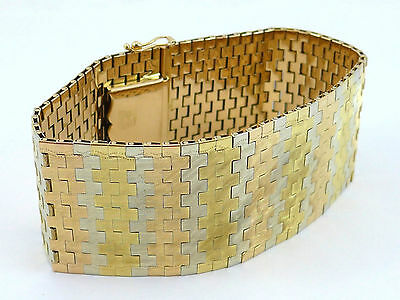 Wide 18 k Multi-Tone Gold Bracelet FOMP Italy 77,2 grams