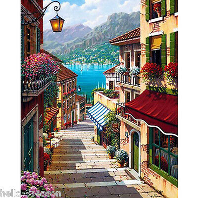 HOT Landscape Painting Love Ladder By Numbers Linen Wall Decor 40x50cm