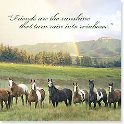 "LEANIN TREE ""Horses"" Magnet #26431~ Friends Are Sunshine~Turn Rain to Rainbows"
