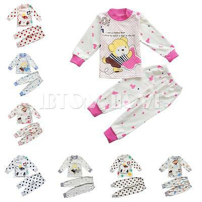 2PCS Girls Boys Baby Kid Tops Pants Trousers Cartoon Pajamas Night Sleepwear Set
