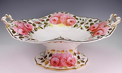 Large 19th Century Daniel - Spode Style 3785 Hand Painted Cabbage Roses Bowl