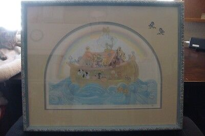 "Rare Precious Moments ""noah's Ark"" Signed And Numbered Framed Lithograph Art"