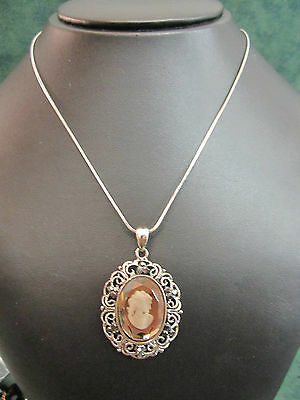 """Dark Silver Etched 1½"""" Cameo Pendant With Black Rhinestones & A 18"""" Chain"""
