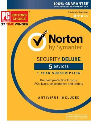 Norton Security Deluxe 2019 for 5 Devices–PC Mac Android iOS Box (Key Card)