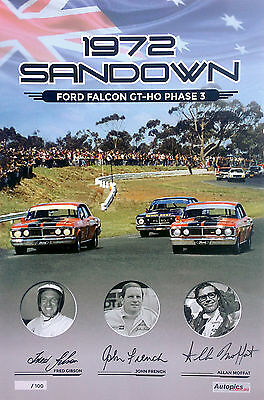 Falcon XY GTHO Sandown 1972 Signed Poster  By Moffat, French & Gibson