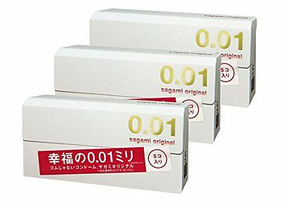 Sagami Original 001 0.01mm Condom Regular size 5pcs x3 Free Shipping