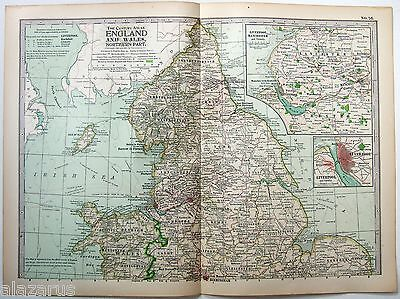Original 1902 Map of Northern England & Wales