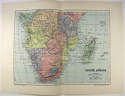 Original 1895 Map of Colonial South Africa by W & A.K. Johnston