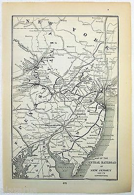Original 1892 Map of the Central Railroad of New Jersey