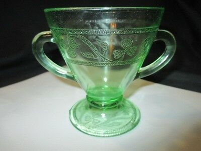 Hazel Atlas Cloverleaf Green Depression Glass Sugar