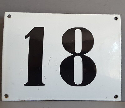 LARGE ANTIQUE FRENCH ENAMEL METAL DOOR HOUSE GATE NUMBER SIGN Black & white 18